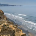 View of the beach from the cliffs of Torrey Pines State Natural Reserve.- Torrey Pines State Beach