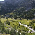 A few campsites can be found along flatter sections of the creek above 7,400 feet.- Middle Fork of the Boise River, Spangle Lake/Divide + Ingleborg Lake/Divide