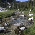 Middle Fork of the Boise River crossing.- Middle Fork of the Boise River, Spangle Lake/Divide + Ingleborg Lake/Divide