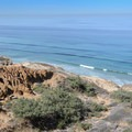 View of the cliffs and the Pacific Ocean.- Torrey Pines State Natural Reserve