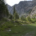 The trail traverses a beautiful high alpine meadow at 8,300 feet.- Middle Fork of the Boise River, Mattingly Creek and Divide