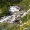 Rock Creek cascade and swimming hole.- Middle Fork of the Boise River, Rock Creek Canyon and Timpa Lake