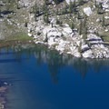 The stunning blue water of Low Pass Lake.- Middle Fork of the Boise River, Rock Creek Canyon and Timpa Lake
