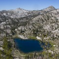 Looking onto Low Pass Lake from the divide with Ingleborg Lake.- Middle Fork of the Boise River, Rock Creek Canyon and Timpa Lake