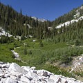 Still more to go, looking up into the Rock Creek Basin.- Middle Fork of the Boise River, Rock Creek Canyon and Timpa Lake