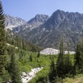 The view out Rock Creek Basin after a 600-foot climb.- Middle Fork of the Boise River, Rock Creek Canyon and Timpa Lake