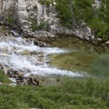 A beautiful, but crisply cool swimming hole in Rock Creek invites weary backpackers.- Middle Fork of the Boise River, Rock Creek Canyon and Timpa Lake