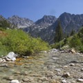 The view from the swimming hole.- Middle Fork of the Boise River, Rock Creek Canyon and Timpa Lake