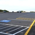 Parking lot at Driftwood Beach State Recreation Site. - Driftwood Beach State Recreation Site
