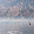 Kayaking through the haze from the Carlton Complex fire.- Lake Pateros Sea Kayaking