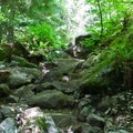 A little rock scramble.- Teneriffe Falls