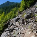 Crossing a talus slope.- Teneriffe Falls