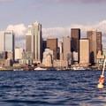 A bouy floats in front of downtown Seattle.- Elliott Bay Sea Kayaking