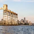 The Terminal 91 Grain Silo with Seattle in the background.- Elliott Bay Sea Kayaking