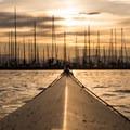 Looking west as the sun sets over the Elliott Bay Marina.- Elliott Bay Sea Kayaking