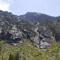 Looking up the north face of Grandjean Peak.- Baron Falls + Baron Lakes