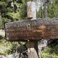 Junction sign at the North Fork of Baron Creek.- Baron Falls + Baron Lakes