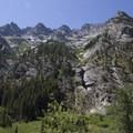 Looking up the granite slabe of the northeast face of Grandjean Peak.- Baron Falls + Baron Lakes