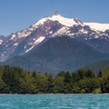 The view of Mount Shuskan (9,131') from the Kulshan Campground boat launch.- Baker Lake Sea Kayaking