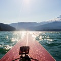 The cooling afternoon winds increase the size of the waves on Baker Lake.- Baker Lake Sea Kayaking