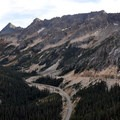 Highway 20/North Cascades Highway curves beneath Liberty Bell.- Washington Pass Overlook