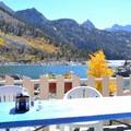 Balcony overlooking Lake Sabrina.- Lake Sabrina Canoe/Kayak