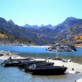 Rental boats on Lake Sabrina.- Lake Sabrina Canoe/Kayak