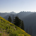 Sunrise over the eastern Sawtooths from high up on the Pickett Mountain Trail.- Picket Mountain Trail