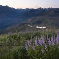 The first light creeps into the South Fork of the Payette River from the summit of Pickett Mountain.- Picket Mountain Trail