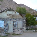 Old bath house at Keough's Hot Springs.- Keough Hot Springs