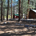 Extra parking near the private cabins behind Big Pine Creek Campground.- Big Pine Creek Campground
