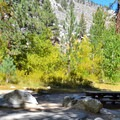 A typical campsite at Big Pine Creek Campground.- Big Pine Creek Campground
