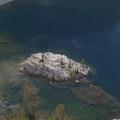 The island in Rock Island Lake.- Pats Lake, Arrowhead Lake, + Queens River Divide