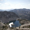 Rock Island Lake from a nearby peak.- Pats Lake, Arrowhead Lake, + Queens River Divide