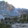 Campsite near First Lake with Temple Crag in the background.- Big Pine Creek North Fork Hiking Trail, First and Second Lake
