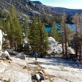 Hiking above Second Lake.- Big Pine Creek North Fork Hiking Trail, First and Second Lake