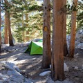 Campsite on First Lake.- Big Pine Creek North Fork Hiking Trail, First and Second Lake