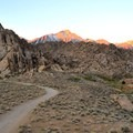 Alpenglow on Mount Whitney (14,505') from the Alabama Hills Dispersed Camping Area.- Alabama Hills Dispersed Camping Area