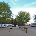 RV camping area at Keough's Hot Springs Campground.- Keough's Hot Springs Campground