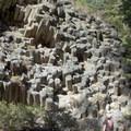 A visitor surveys the ends of the basalt columns at Devils Postpile.- Devils Postpile National Monument