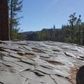Hexagonal basalt columns formed from a slowly cooling lava flow.- Devils Postpile National Monument