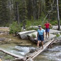 Walking the logs at the Redfish Lake Creek crossing.- Saddleback Lakes