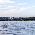Looking northeast at I-90 and the entrance to Mercer Slough.- Mercer Island Sea Kayaking Loop