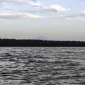 Mount Rainer (14,409') rises above Mercer Island.- Mercer Island Sea Kayaking Loop
