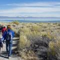 Park rangers lead a school group on a tour of South Tufa.- South Tufa to Navy Beach