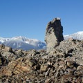 Obsidian spires formed from lava that was too thick to flow away from the volcano's vents.- Panum Crater Plug Trail