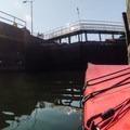 In the lock as the water drains.- Lake Washington Ship Canal Sea Kayaking