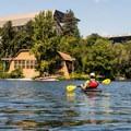 Entering Ship Canal from the arboretum.- Lake Washington Ship Canal Sea Kayaking