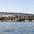 The Ship Canal Bridge (upper) and the University Bridge (lower) as seen from Portage Bay.- Lake Washington Ship Canal Sea Kayaking