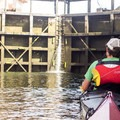 Holding onto the floating sidewall as the small lock fills with water.- Lake Washington Ship Canal Sea Kayaking